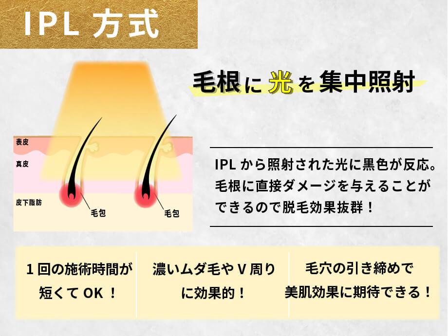 IPL方式について 毛根に光を集中照射 IPLから照射された光に黒色が反応。毛根に直接ダメージを与えることができるので脱毛効果抜群
